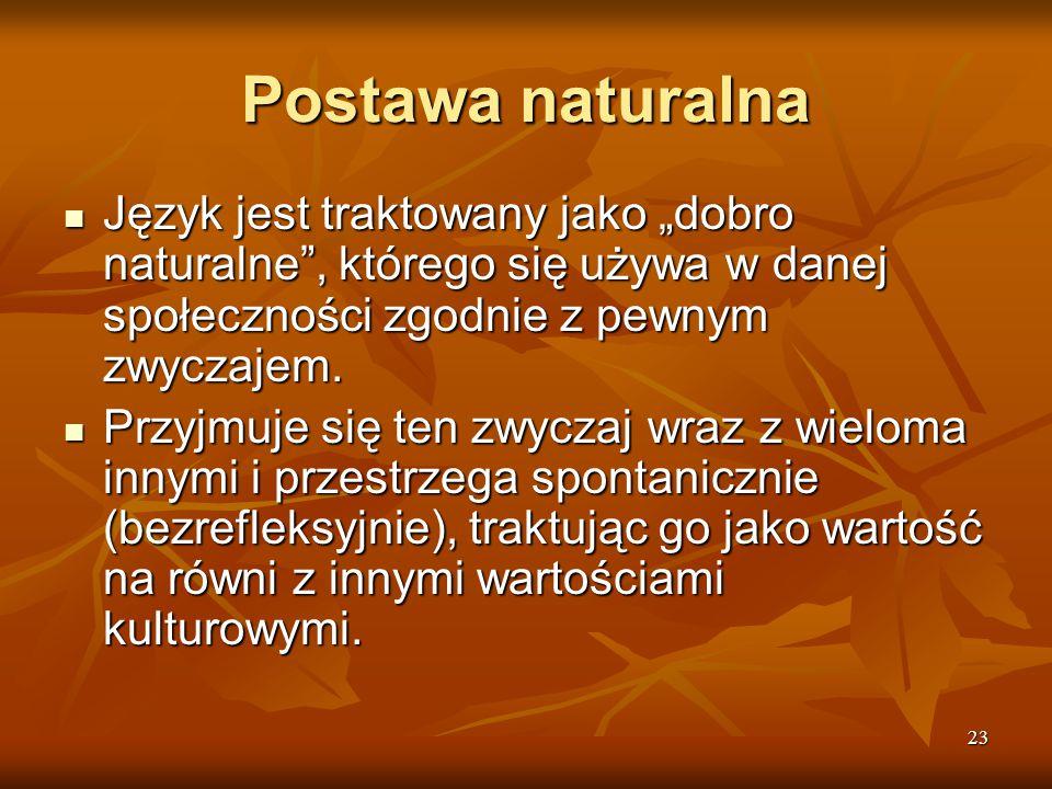 """Postawa naturalna Język jest traktowany jako """"dobro naturalne , którego się używa w danej społeczności zgodnie z pewnym zwyczajem."""