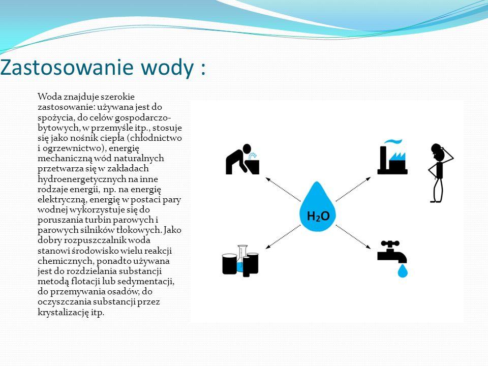 Zastosowanie wody :