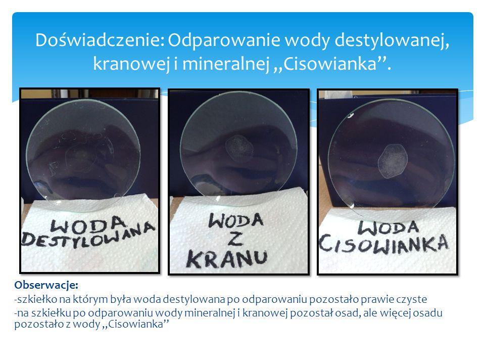 Doświadczenie: Odparowanie wody destylowanej, kranowej i mineralnej ,,Cisowianka''.