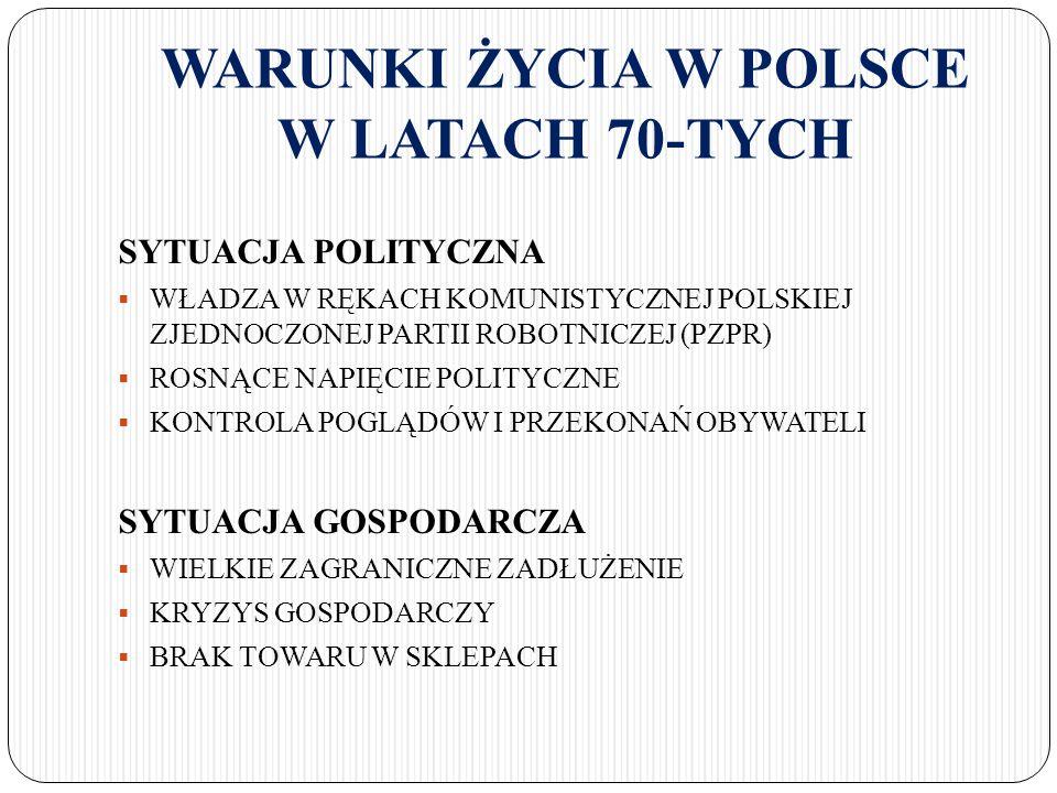 WARUNKI ŻYCIA W POLSCE W LATACH 70-TYCH