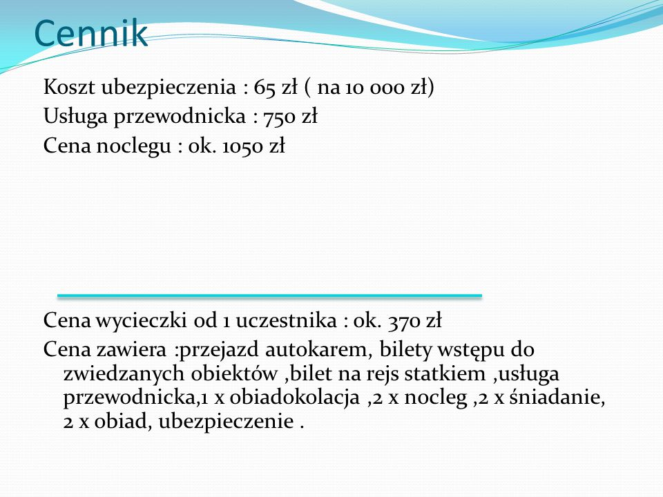 Cennik Koszt ubezpieczenia : 65 zł ( na 10 000 zł)