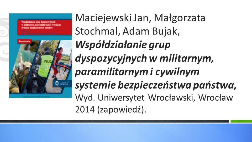 Maciejewski Jan, Małgorzata Stochmal, Adam Bujak, Współdziałanie grup dyspozycyjnych w militarnym, paramilitarnym i cywilnym systemie bezpieczeństwa państwa, Wyd.