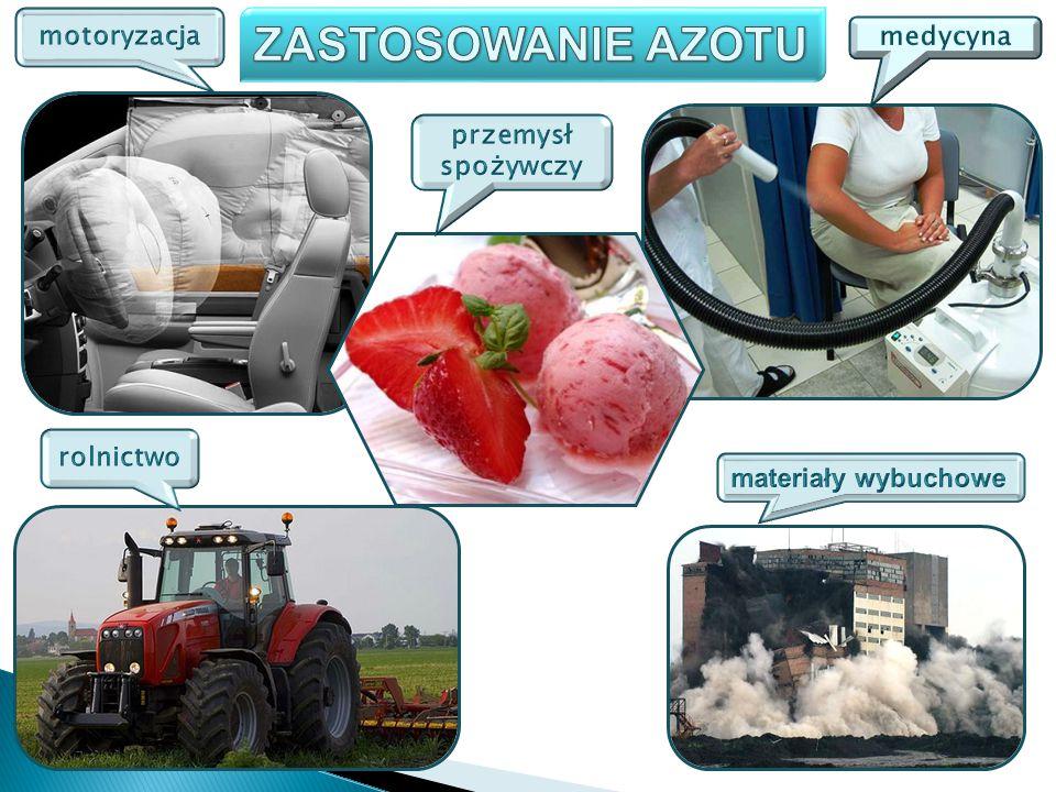 ZASTOSOWANIE AZOTU motoryzacja medycyna przemysł spożywczy rolnictwo