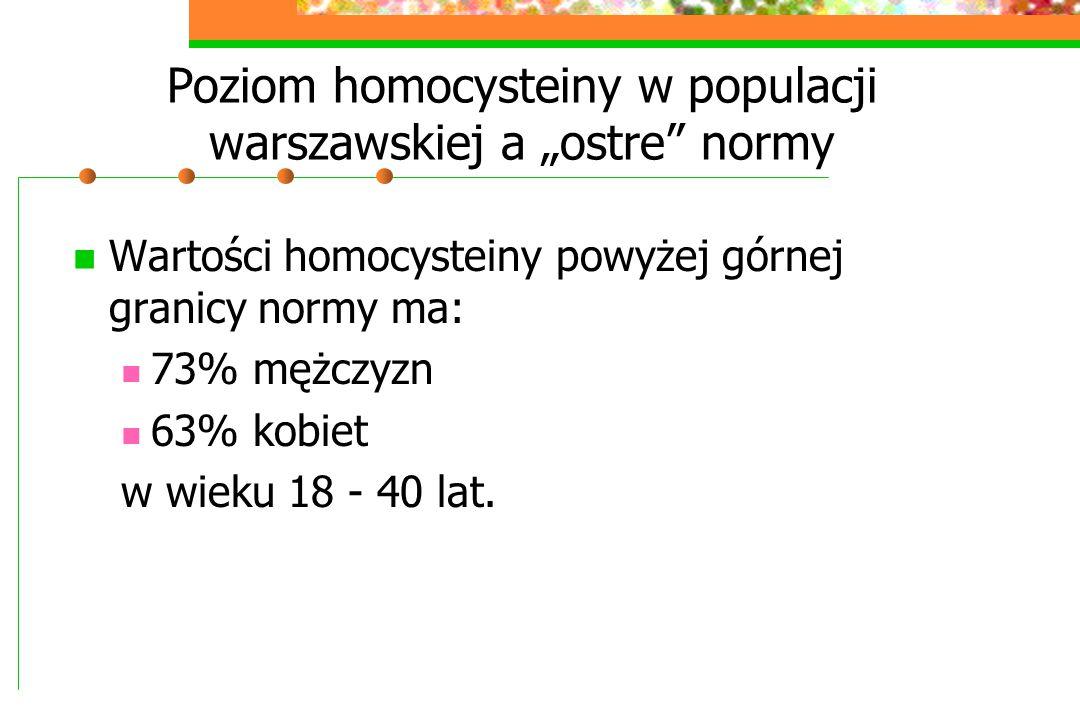 """Poziom homocysteiny w populacji warszawskiej a """"ostre normy"""