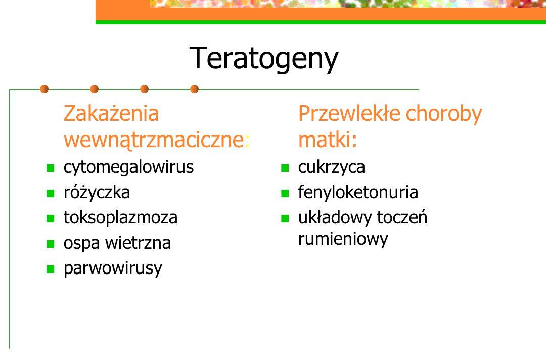 Teratogeny Zakażenia wewnątrzmaciczne: Przewlekłe choroby matki: