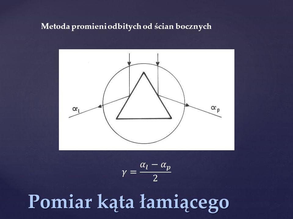 Pomiar kąta łamiącego 𝛾= 𝛼 𝑙 − 𝛼 𝑝 2