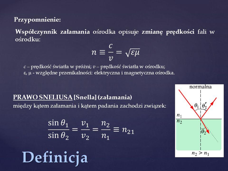 Definicja 𝑛≡ 𝑐 𝑣 = 𝜀𝜇 sin 𝜃 1 sin 𝜃 2 = 𝑣 1 𝑣 2 = 𝑛 2 𝑛 1 ≡ 𝑛 21