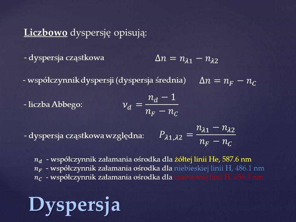 Dyspersja Liczbowo dyspersję opisują: ∆𝑛= 𝑛 𝜆1 − 𝑛 𝜆2 ∆𝑛= 𝑛 𝐹 − 𝑛 𝐶