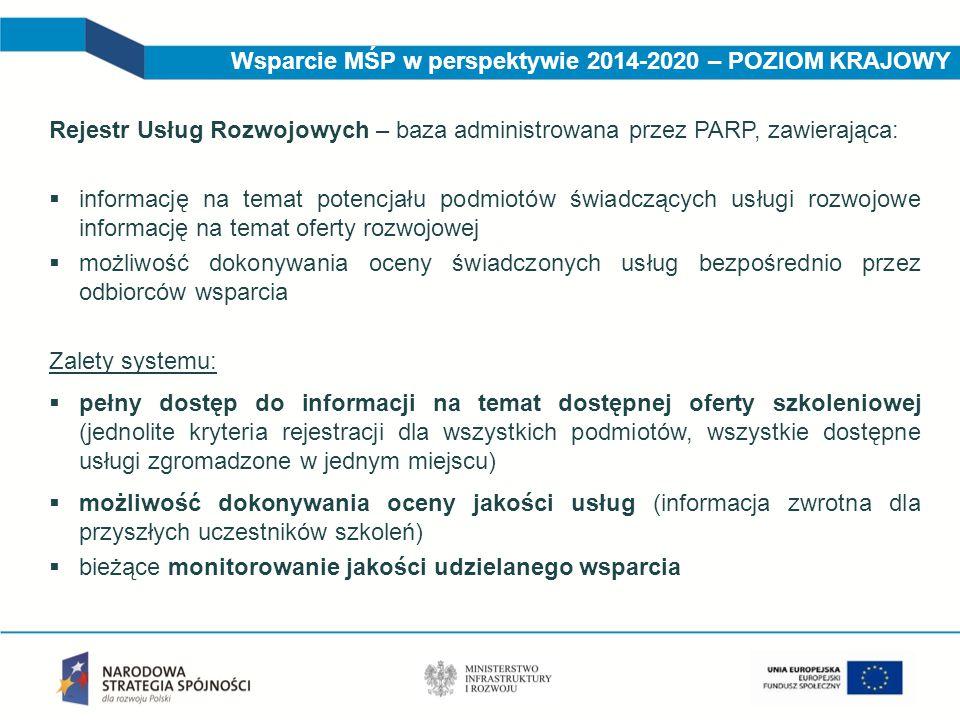 Wsparcie MŚP w perspektywie 2014-2020 – POZIOM KRAJOWY