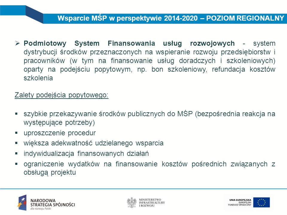 Wsparcie MŚP w perspektywie 2014-2020 – POZIOM REGIONALNY