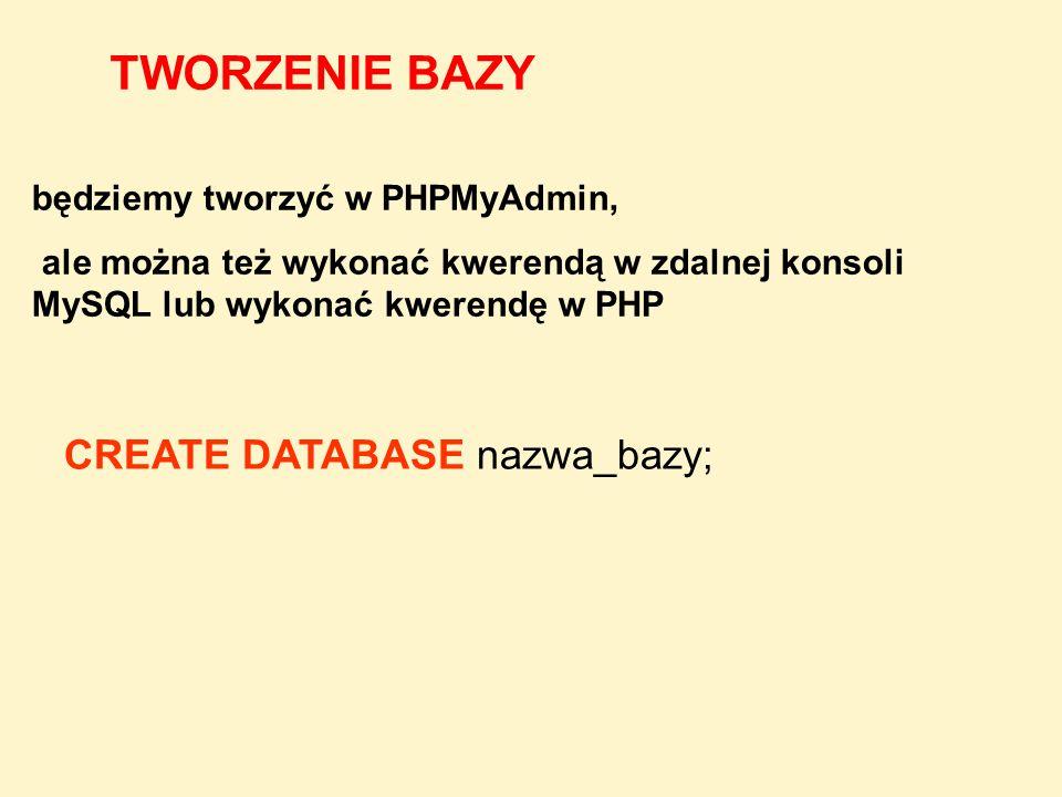 TWORZENIE BAZY CREATE DATABASE nazwa_bazy;