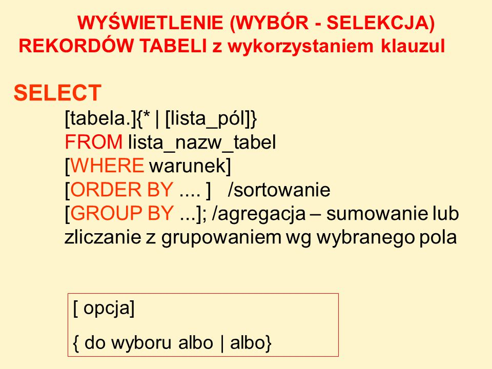 SELECT [tabela.]{* | [lista_pól]} FROM lista_nazw_tabel