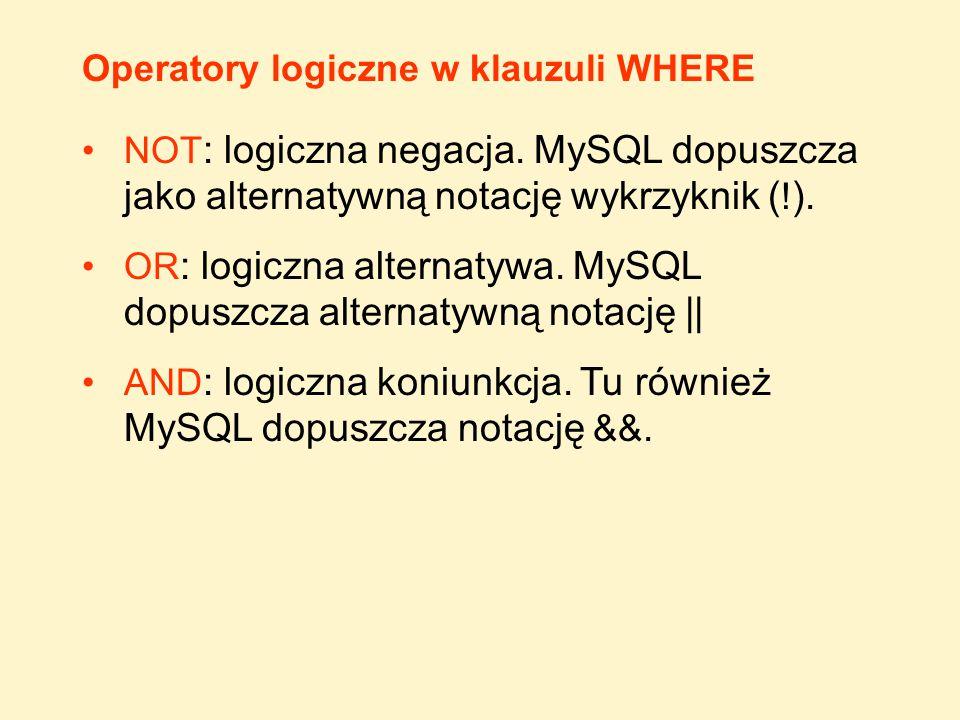 Operatory logiczne w klauzuli WHERE