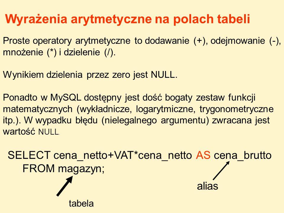 Wyrażenia arytmetyczne na polach tabeli