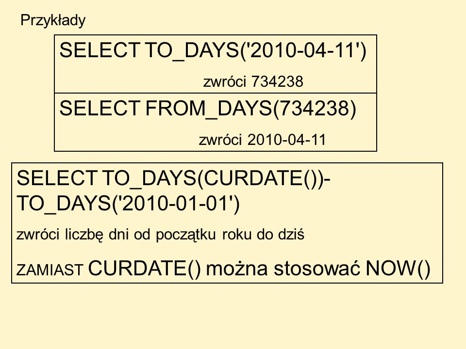SELECT TO_DAYS(CURDATE())- TO_DAYS( )