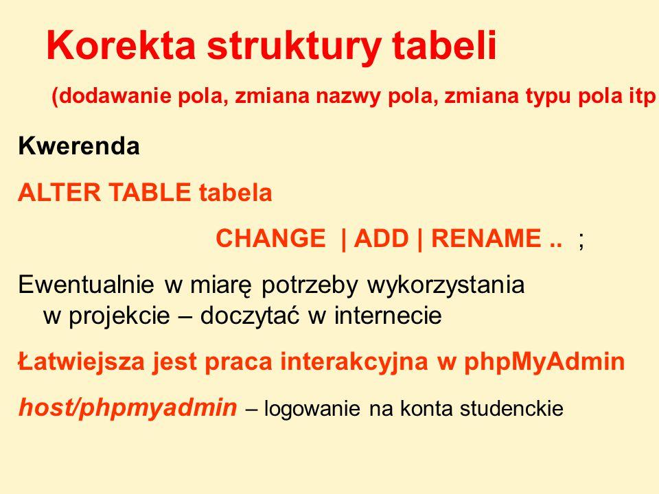 Korekta struktury tabeli