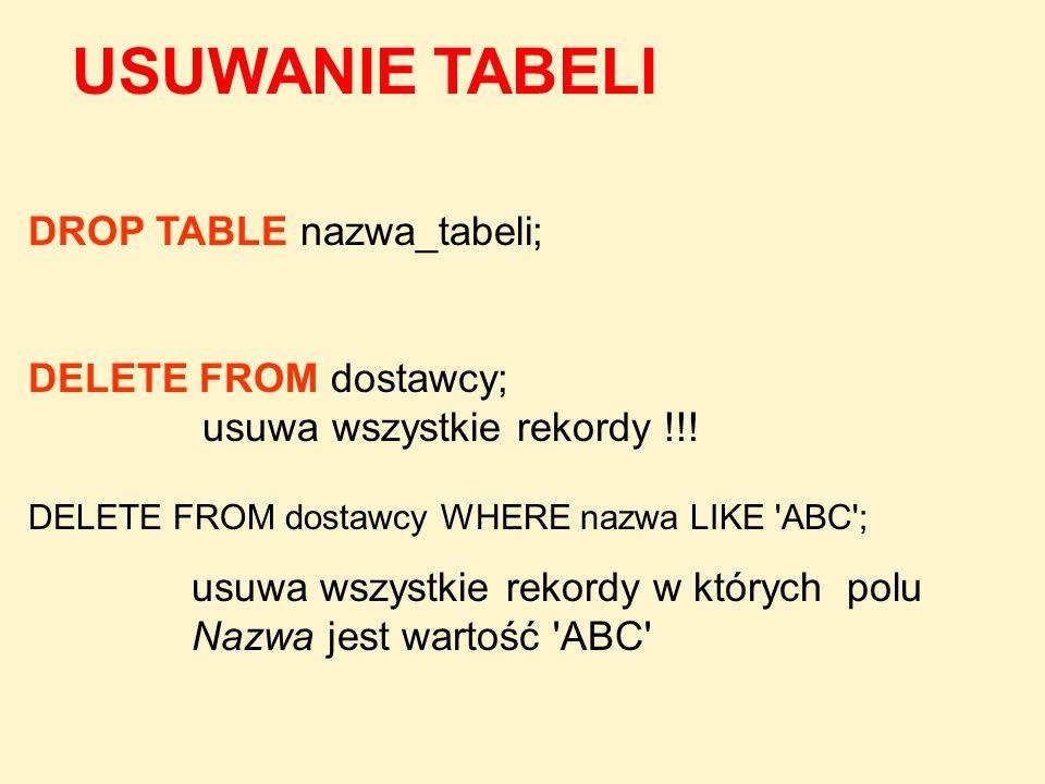 USUWANIE TABELI DROP TABLE nazwa_tabeli; DELETE FROM dostawcy;