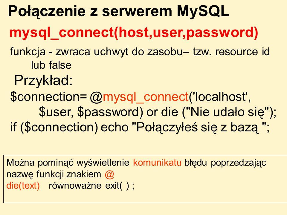 Połączenie z serwerem MySQL