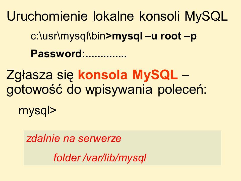 Uruchomienie lokalne konsoli MySQL