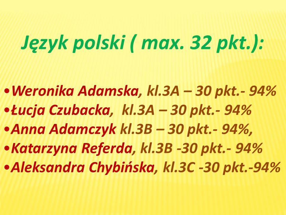Język polski ( max. 32 pkt.):