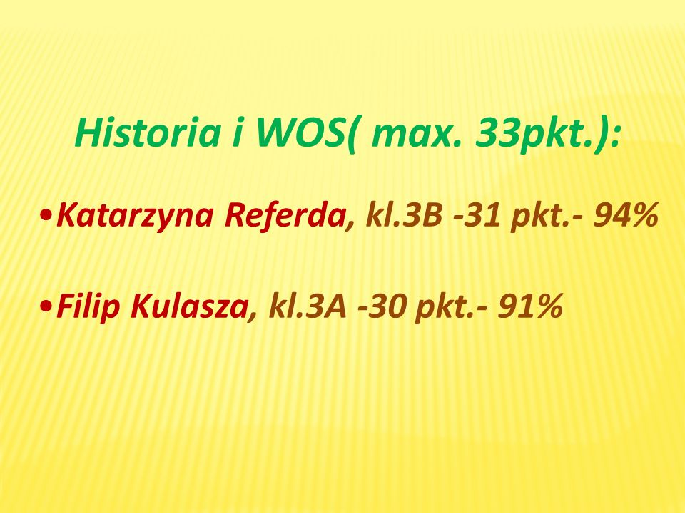 Historia i WOS( max. 33pkt.):