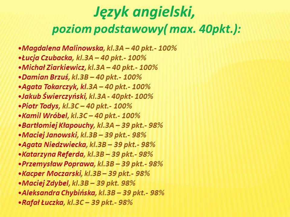 poziom podstawowy( max. 40pkt.):