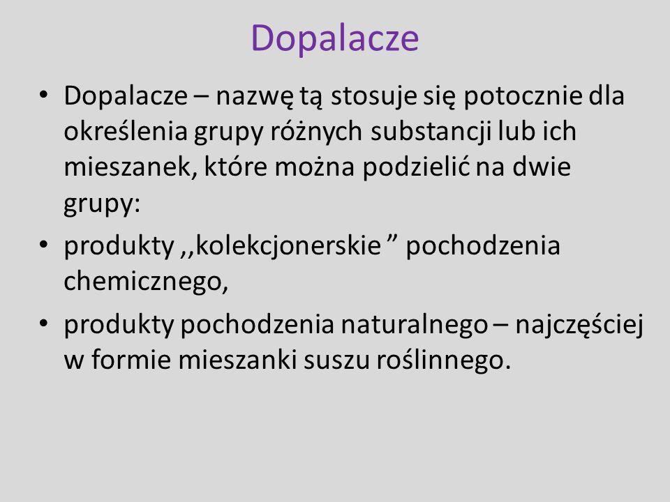 Dopalacze Dopalacze – nazwę tą stosuje się potocznie dla określenia grupy różnych substancji lub ich mieszanek, które można podzielić na dwie grupy: