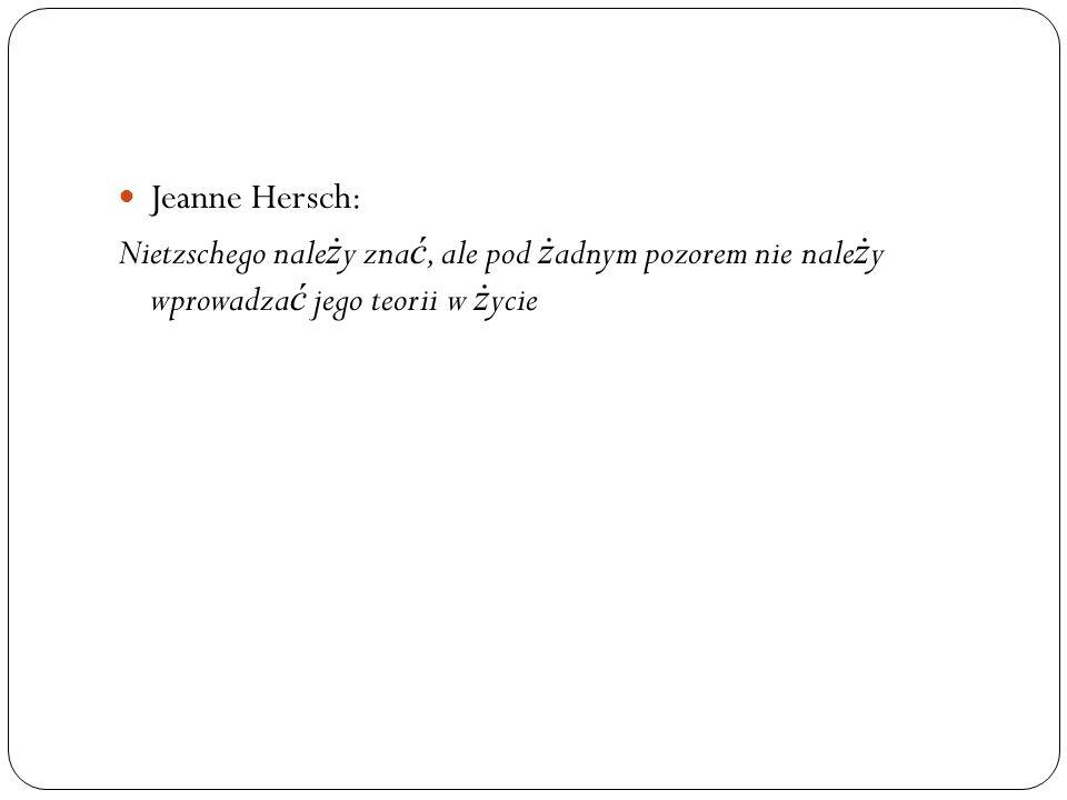 Jeanne Hersch: Nietzschego należy znać, ale pod żadnym pozorem nie należy wprowadzać jego teorii w życie.