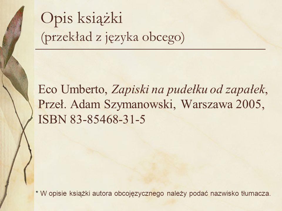 Opis książki (przekład z języka obcego)