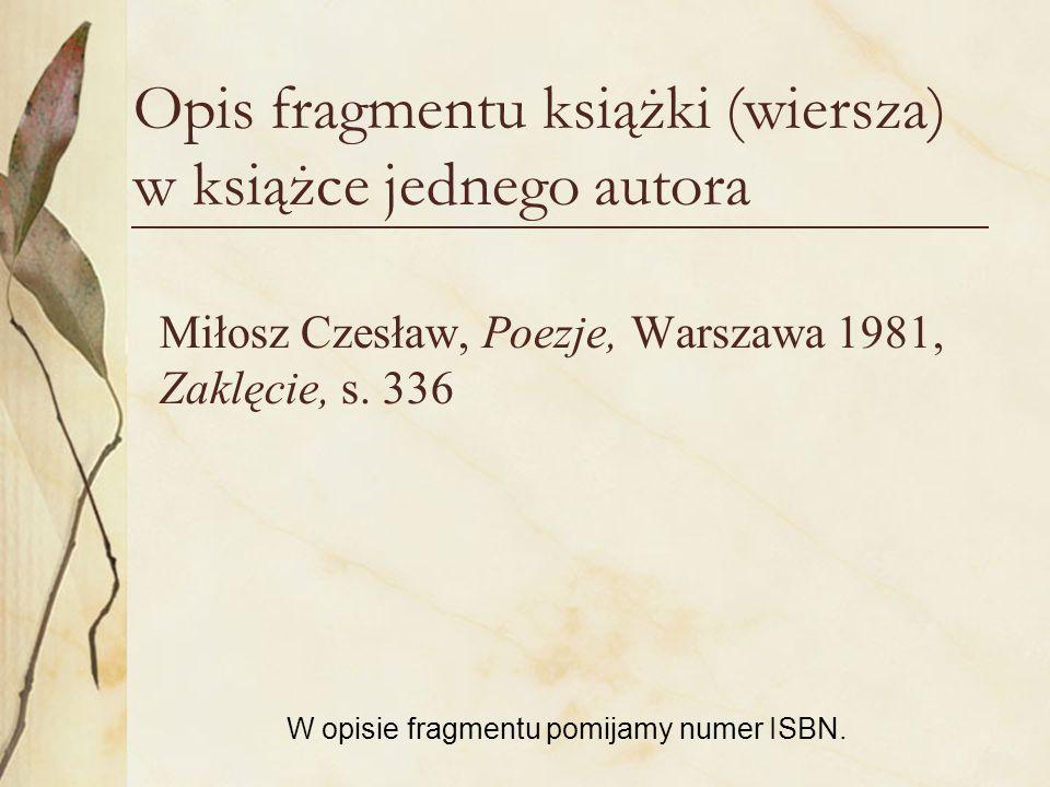 Opis fragmentu książki (wiersza) w książce jednego autora