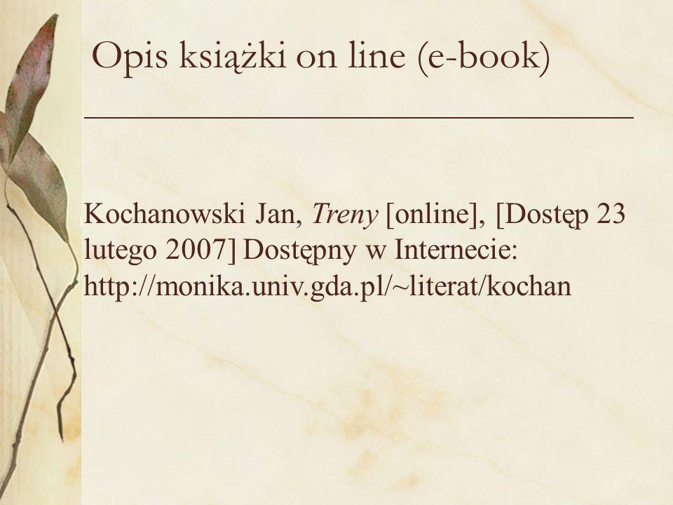 Opis książki on line (e-book)