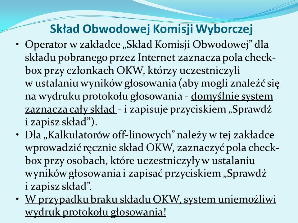 Skład Obwodowej Komisji Wyborczej