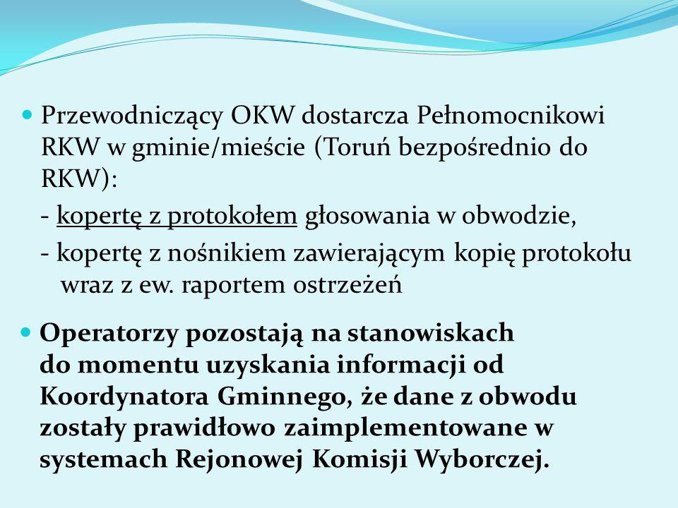 Przewodniczący OKW dostarcza Pełnomocnikowi RKW w gminie/mieście (Toruń bezpośrednio do RKW):