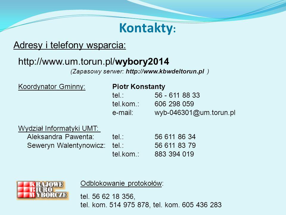 Kontakty: Adresy i telefony wsparcia: