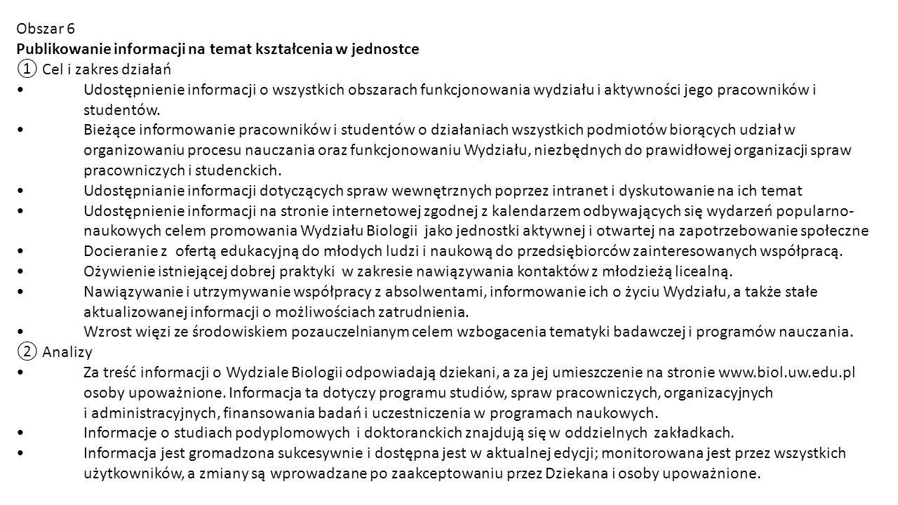 Obszar 6 Publikowanie informacji na temat kształcenia w jednostce. ① Cel i zakres działań.