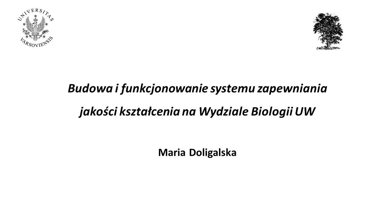 Budowa i funkcjonowanie systemu zapewniania jakości kształcenia na Wydziale Biologii UW