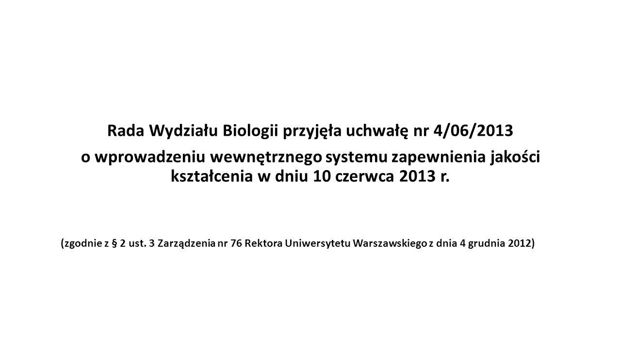 Rada Wydziału Biologii przyjęła uchwałę nr 4/06/2013