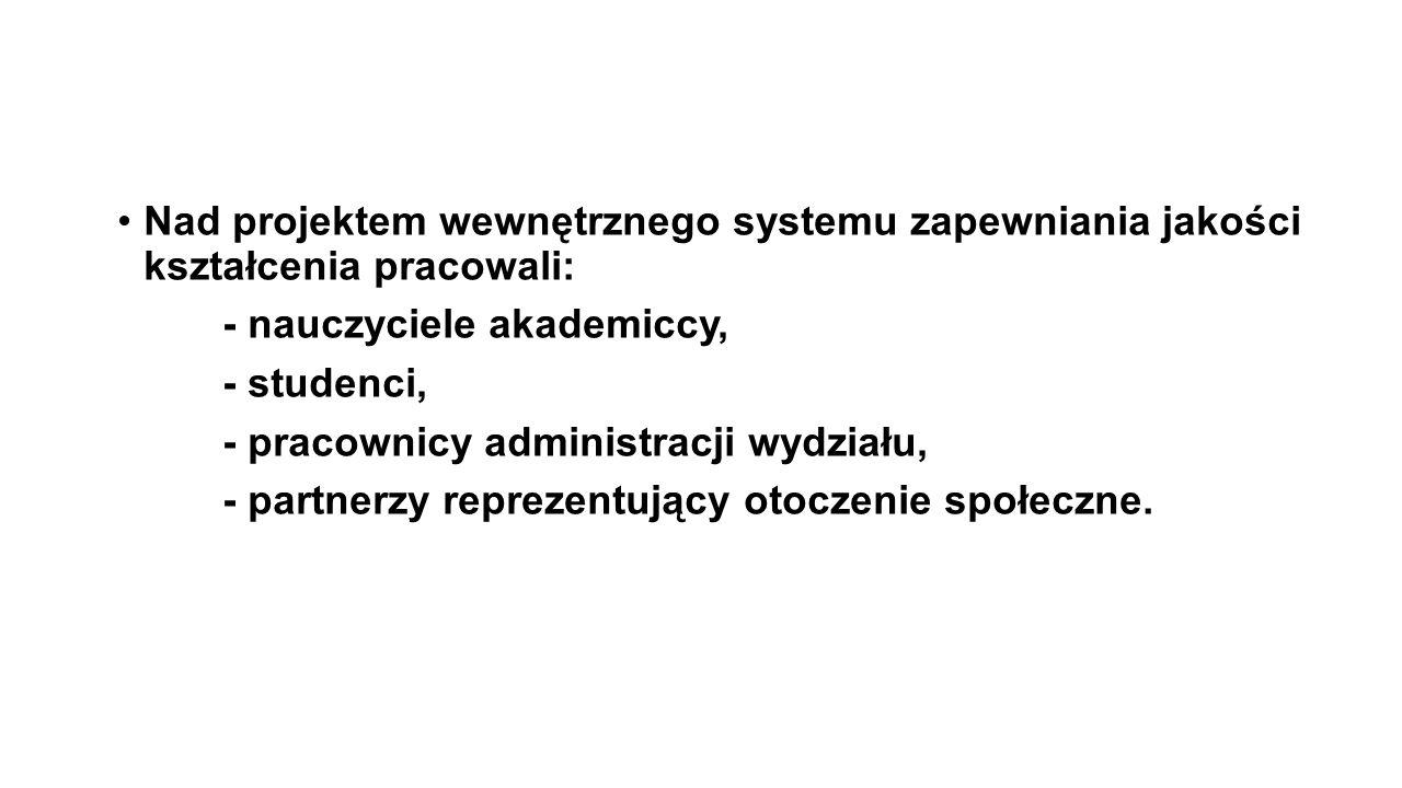 Nad projektem wewnętrznego systemu zapewniania jakości kształcenia pracowali: - nauczyciele akademiccy,
