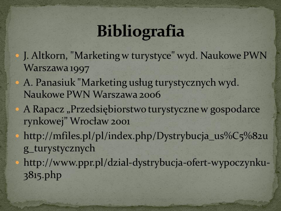 Bibliografia J. Altkorn, Marketing w turystyce wyd. Naukowe PWN Warszawa 1997.