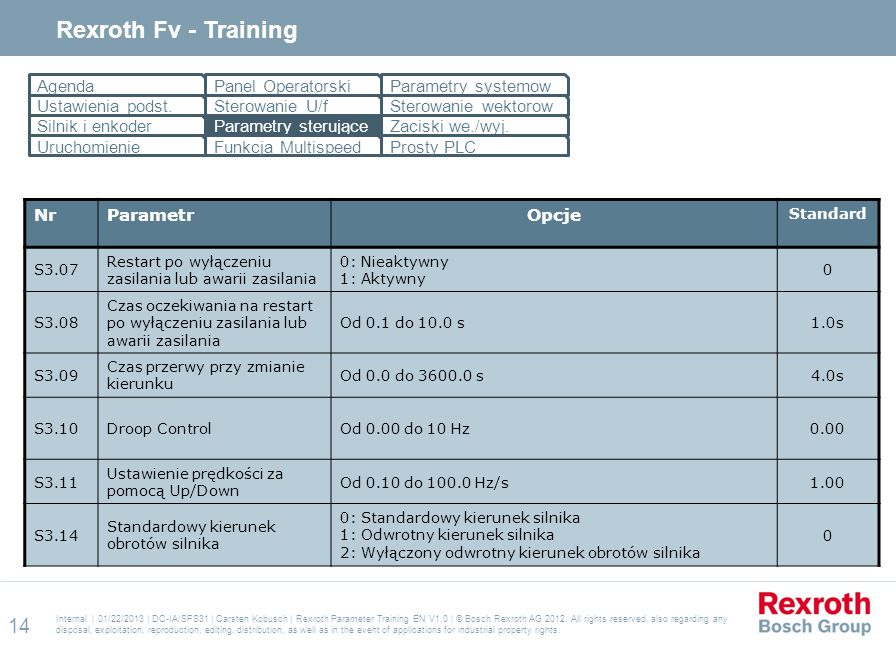 Rexroth Fv - Training Agenda Panel Operatorski Parametry systemow