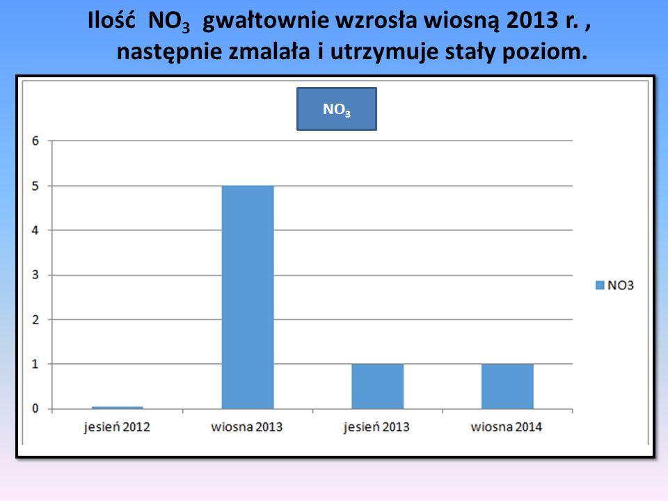 Ilość NO3 gwałtownie wzrosła wiosną 2013 r