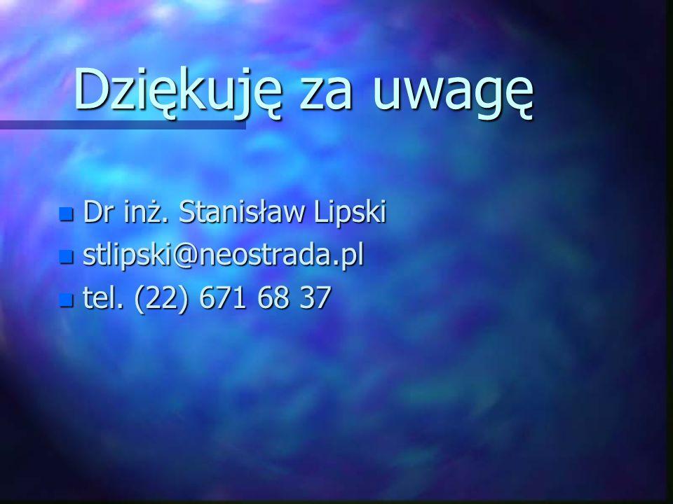 Dziękuję za uwagę Dr inż. Stanisław Lipski stlipski@neostrada.pl
