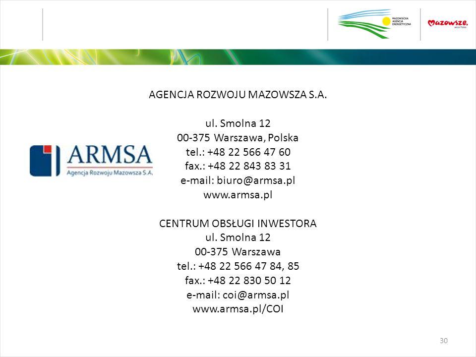 AGENCJA ROZWOJU MAZOWSZA S.A. ul. Smolna 12 00-375 Warszawa, Polska