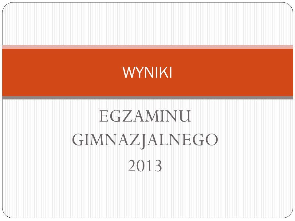 EGZAMINU GIMNAZJALNEGO 2013