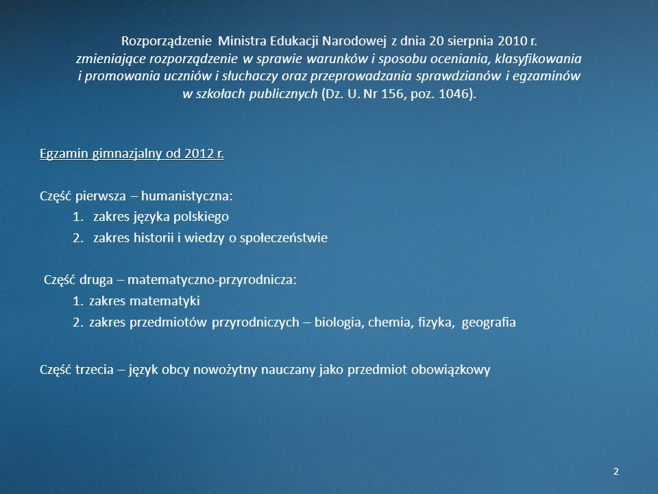 Rozporządzenie Ministra Edukacji Narodowej z dnia 20 sierpnia 2010 r
