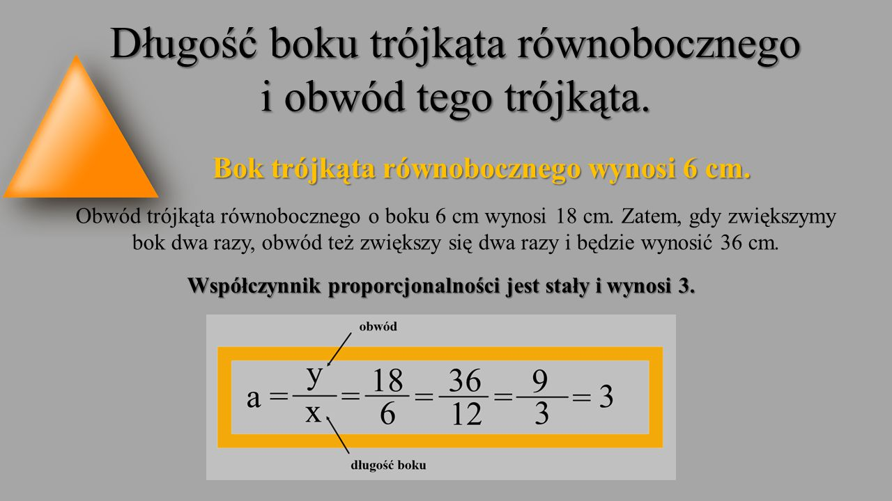 Długość boku trójkąta równobocznego i obwód tego trójkąta.
