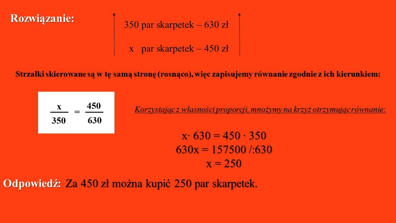 Odpowiedź: Za 450 zł można kupić 250 par skarpetek.