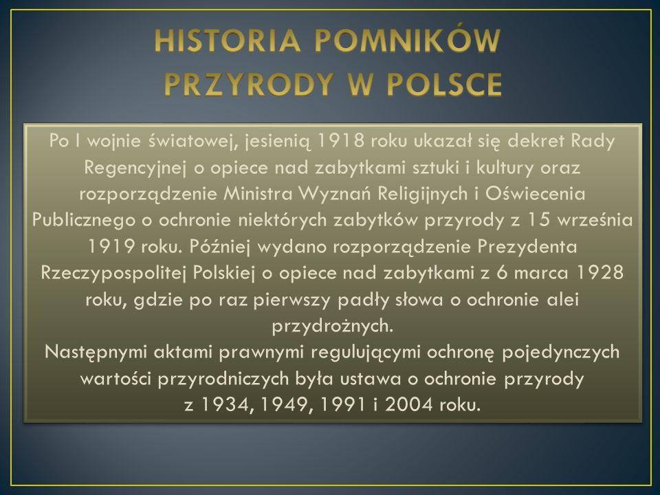 HISTORIA POMNIKÓW PRZYRODY W POLSCE