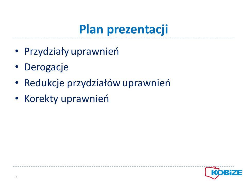 Plan prezentacji Przydziały uprawnień Derogacje