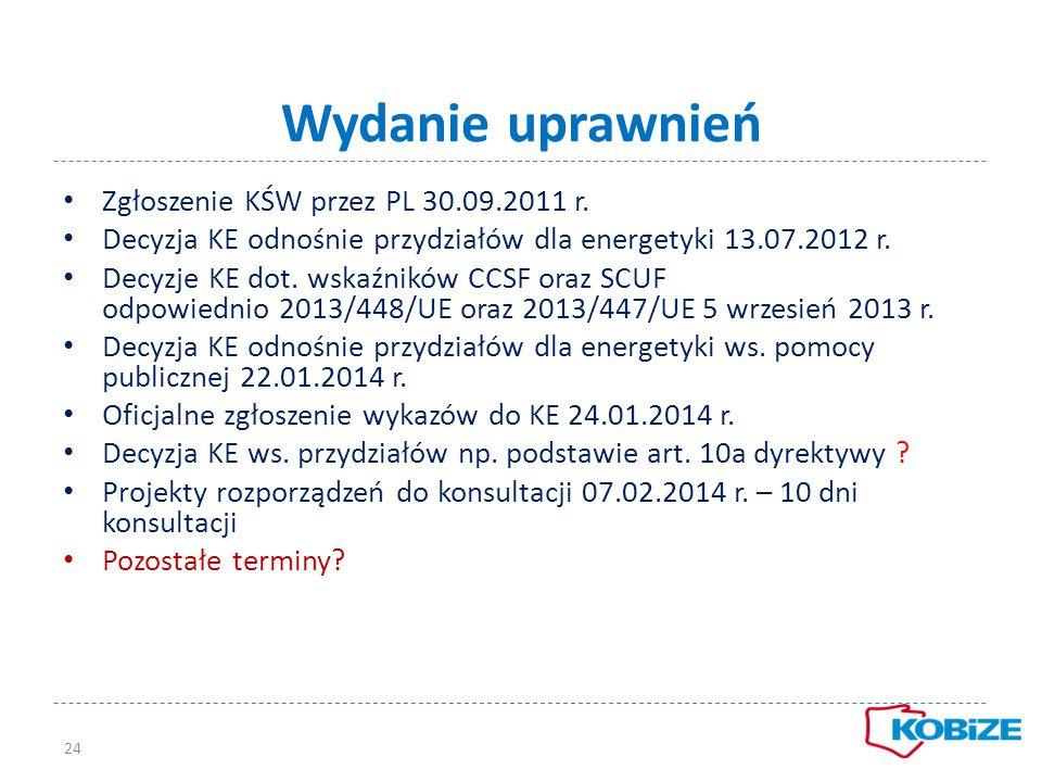 Wydanie uprawnień Zgłoszenie KŚW przez PL 30.09.2011 r.